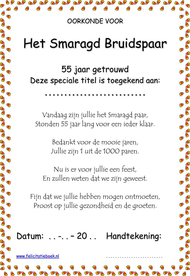 55 Jaar Getrouwd Smaragd Bruiloft Bruidspaar Gedichten